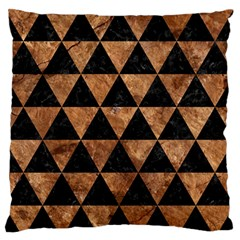 Triangle3 Black Marble & Brown Stone Large Flano Cushion Case (one Side)