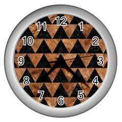 Triangle2 Black Marble & Brown Stone Wall Clock (silver) by trendistuff