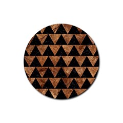 Triangle2 Black Marble & Brown Stone Rubber Round Coaster (4 Pack) by trendistuff