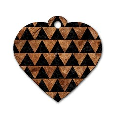 Triangle2 Black Marble & Brown Stone Dog Tag Heart (one Side) by trendistuff