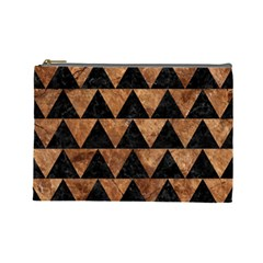 Triangle2 Black Marble & Brown Stone Cosmetic Bag (large) by trendistuff