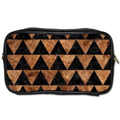 Triangle2 Black Marble & Brown Stone Toiletries Bag (two Sides) by trendistuff
