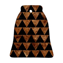 Triangle2 Black Marble & Brown Stone Bell Ornament (two Sides)
