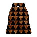 TRIANGLE2 BLACK MARBLE & BROWN STONE Bell Ornament (Two Sides) Back