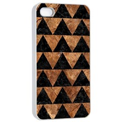 Triangle2 Black Marble & Brown Stone Apple Iphone 4/4s Seamless Case (white) by trendistuff