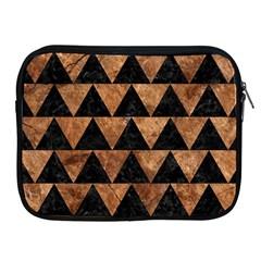 Triangle2 Black Marble & Brown Stone Apple Ipad Zipper Case by trendistuff