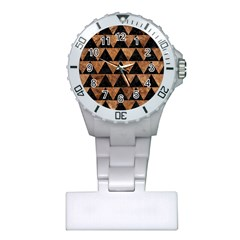 Triangle2 Black Marble & Brown Stone Plastic Nurses Watch by trendistuff