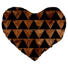 Triangle2 Black Marble & Brown Stone Large 19  Premium Flano Heart Shape Cushion by trendistuff