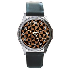 Triangle1 Black Marble & Brown Stone Round Metal Watch by trendistuff