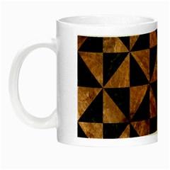Triangle1 Black Marble & Brown Stone Night Luminous Mug by trendistuff
