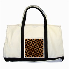 Triangle1 Black Marble & Brown Stone Two Tone Tote Bag by trendistuff