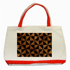 Triangle1 Black Marble & Brown Stone Classic Tote Bag (red) by trendistuff