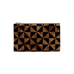 Triangle1 Black Marble & Brown Stone Cosmetic Bag (small) by trendistuff