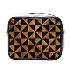 Triangle1 Black Marble & Brown Stone Mini Toiletries Bag (one Side) by trendistuff