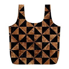 Triangle1 Black Marble & Brown Stone Full Print Recycle Bag (l) by trendistuff