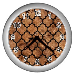 Tile1 Black Marble & Brown Stone (r) Wall Clock (silver) by trendistuff