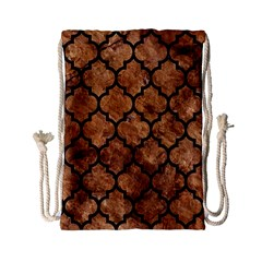 Tile1 Black Marble & Brown Stone (r) Drawstring Bag (small) by trendistuff
