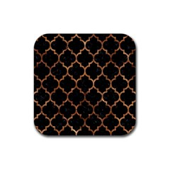 Tile1 Black Marble & Brown Stone Rubber Square Coaster (4 Pack) by trendistuff