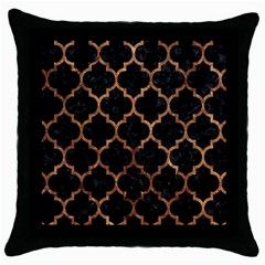 Tile1 Black Marble & Brown Stone Throw Pillow Case (black) by trendistuff