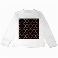 Tile1 Black Marble & Brown Stone Kids Long Sleeve T Shirt by trendistuff