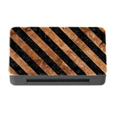 Stripes3 Black Marble & Brown Stone (r) Memory Card Reader With Cf by trendistuff