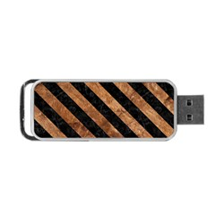 Stripes3 Black Marble & Brown Stone (r) Portable Usb Flash (one Side) by trendistuff