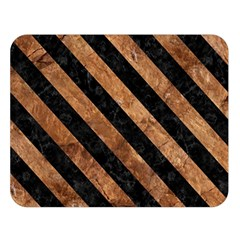 Stripes3 Black Marble & Brown Stone (r) Double Sided Flano Blanket (large) by trendistuff