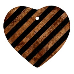 Stripes3 Black Marble & Brown Stone Heart Ornament (two Sides) by trendistuff