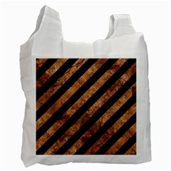 Stripes3 Black Marble & Brown Stone Recycle Bag (one Side) by trendistuff