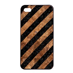 Stripes3 Black Marble & Brown Stone Apple Iphone 4/4s Seamless Case (black) by trendistuff