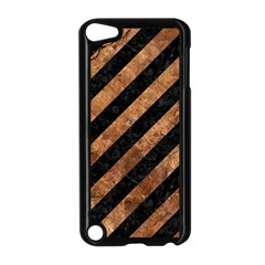 Stripes3 Black Marble & Brown Stone Apple Ipod Touch 5 Case (black) by trendistuff