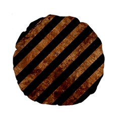Stripes3 Black Marble & Brown Stone Standard 15  Premium Round Cushion  by trendistuff