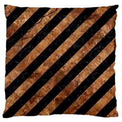 Stripes3 Black Marble & Brown Stone Large Flano Cushion Case (two Sides) by trendistuff