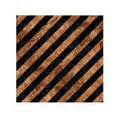 Stripes3 Black Marble & Brown Stone Small Satin Scarf (square) by trendistuff
