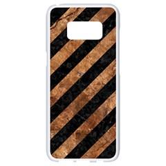 Stripes3 Black Marble & Brown Stone Samsung Galaxy S8 White Seamless Case