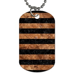 Stripes2 Black Marble & Brown Stone Dog Tag (one Side) by trendistuff