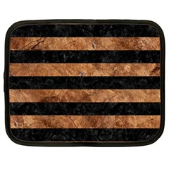 Stripes2 Black Marble & Brown Stone Netbook Case (large) by trendistuff