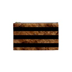 Stripes2 Black Marble & Brown Stone Cosmetic Bag (small) by trendistuff