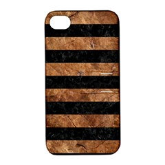 Stripes2 Black Marble & Brown Stone Apple Iphone 4/4s Hardshell Case With Stand by trendistuff