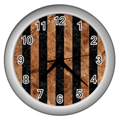 Stripes1 Black Marble & Brown Stone Wall Clock (silver) by trendistuff