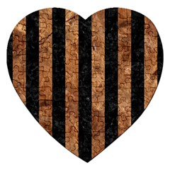 Stripes1 Black Marble & Brown Stone Jigsaw Puzzle (heart) by trendistuff