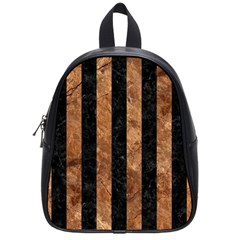 Stripes1 Black Marble & Brown Stone School Bag (small) by trendistuff