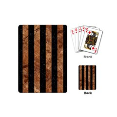 Stripes1 Black Marble & Brown Stone Playing Cards (mini) by trendistuff