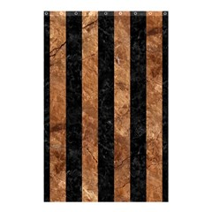 Stripes1 Black Marble & Brown Stone Shower Curtain 48  X 72  (small) by trendistuff