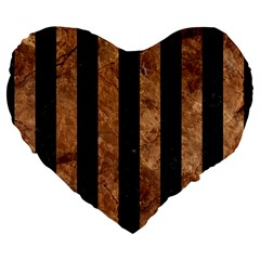 Stripes1 Black Marble & Brown Stone Large 19  Premium Flano Heart Shape Cushion by trendistuff