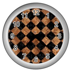 Square2 Black Marble & Brown Stone Wall Clock (silver) by trendistuff