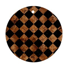 Square2 Black Marble & Brown Stone Round Ornament (two Sides) by trendistuff