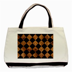 Square2 Black Marble & Brown Stone Basic Tote Bag (two Sides) by trendistuff