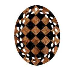 Square2 Black Marble & Brown Stone Oval Filigree Ornament (two Sides) by trendistuff