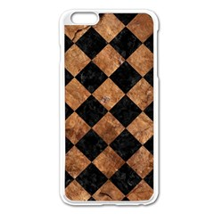 Square2 Black Marble & Brown Stone Apple Iphone 6 Plus/6s Plus Enamel White Case by trendistuff